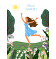 hello summer running joyful girl on the white vector image vector image