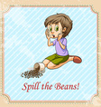 Idiom spill the beans vector image vector image
