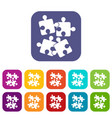 jigsaw puzzles icons set vector image