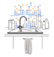kitchen sink with different bottles for cleaning vector image vector image