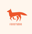 logotype with silhouette fox trendy geometric vector image