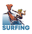 man extreme surfer riding on big ocean wave vector image vector image