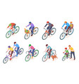 man on sport bike and child or kid bicycle vector image vector image