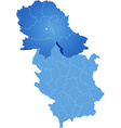 Map of Serbia Autonomous Province of Vojvodina vector image