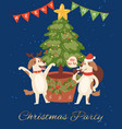 merry christmas poster with funny dogs in red vector image