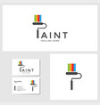 paint logo template with business card design vector image