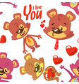 pattern of bears for valentines day vector image