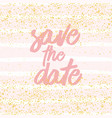 save date with pastel white and pink stripes vector image vector image