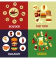 Seafood fast food and drinks flat icons vector image