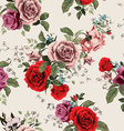 Seamless floral pattern with red and pink roses on