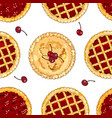 seamless pattern with cherry pies the theme of vector image vector image