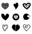 Set collection of black heart icons vector image vector image