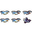 set of pixel birds vector image vector image