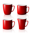 set of red cups isolated on white background vector image vector image