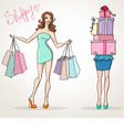 shopoholic shopping girls fashion sale vector image