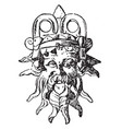 silenus mask was used as a handle of an etruscan vector image vector image
