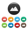 snow peak icons set color vector image vector image