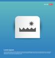 sun and sea icon - blue sticker button vector image