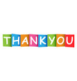 thank you colorful card on white background vector image vector image