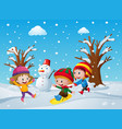 three kids playing in the snow vector image vector image