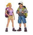 trekking people vector image