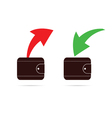 wallet with red and green arrow vector image