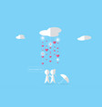 couple under clouds with rain and heartsvalentine vector image