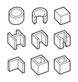 Metal Profiles Icons Set Steel Products vector image