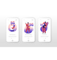 5g technology mobile app page onboard screen set vector image