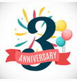 anniversary 3 years template with ribbon vector image vector image