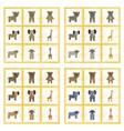 assembly flat shading style icons giraffe bull vector image vector image
