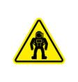 astronaut warning sign yellow cosmonaut hazard vector image vector image