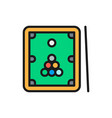 billiards table with cue and balls flat color vector image