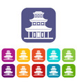 buddhist temple icons set vector image