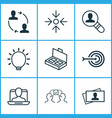 business icons set with target project target vector image vector image