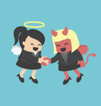Business woman shaking hand Business woman demons vector image