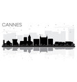 cannes france city skyline black and white vector image vector image