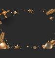 christmas composition top view christmas box fir vector image