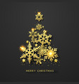 christmas tree background with shining gold vector image vector image