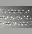 christmas white lights string transparent effect vector image vector image