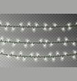 christmas white lights string transparent effect vector image