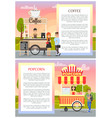 coffee and popcorn wagons in city park poster vector image vector image