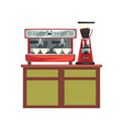 coffee machine and electric coffee grinder on vector image vector image