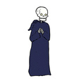comic cartoon skeleton in black robe vector image vector image