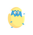 cute little blue funny chick in the egg shell vector image