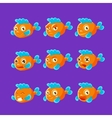 Cute Orange Aquarium Fish Cartoon Character Set Of vector image vector image