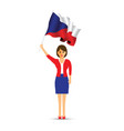 czech republic flag waving woman vector image vector image