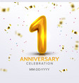 first anniversary birth celebration number vector image vector image