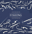 fishing poster with hook fishing rod vector image