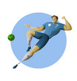 football player kicking ball in air vector image